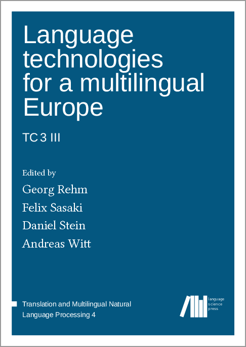 Cover for  Language technologies for a multilingual Europe