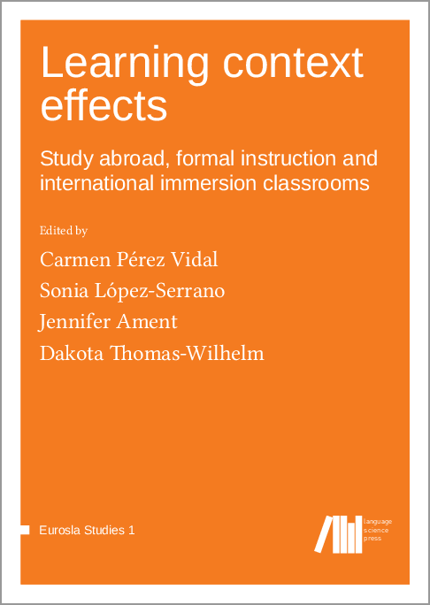 Cover for Forthcoming: Learning context effects: Study abroad, formal instruction and international immersion classrooms