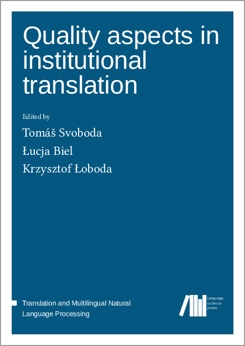 Cover for Forthcoming: Quality aspects in institutional translation