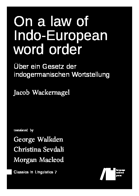 Cover for Forthcoming: On a law of Indo-European word order: Über ein Gesetz der indogermanischen Wortstellung