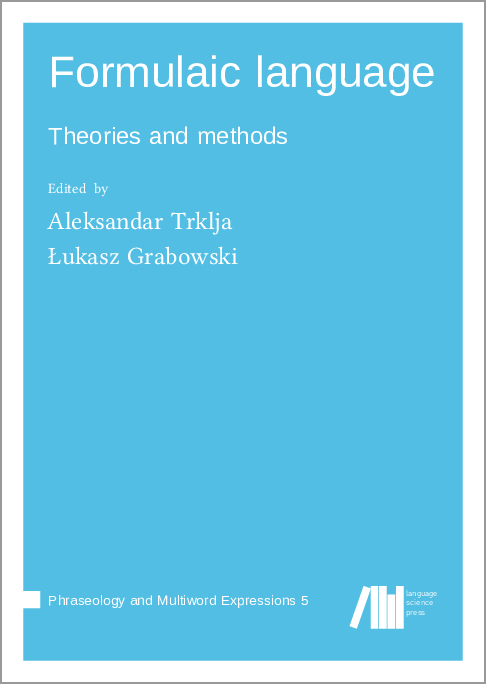Cover for Forthcoming: Formulaic language: Theories and methods